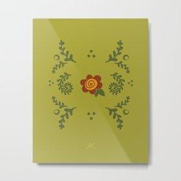 Ferny Floral Garden, Enchanted Garden  |  Green Orange Metal Print
