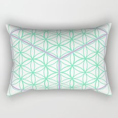 Sacred Geometry - glowing energy lines - cube and flowers Rectangular Pillow