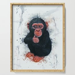 Chimpanzee Art Serving Tray