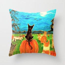 Seven Cats in Pumpkin Patch Throw Pillow