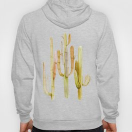 Minimalist Cactus Drawing Watercolor Painting Southwestern Green Cacti Hoody