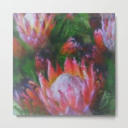 Big Protea Botanical Flowers The Three Kings Metal Print