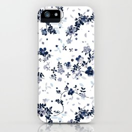 Indigo Blue Clematis Floral Pattern iPhone Case