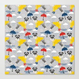 Schnauzer spring raincoat cute pattern for dog lover with schnauzers Canvas Print