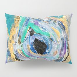 Three Impressionistic Teal & Gold Oysters Pillow Sham