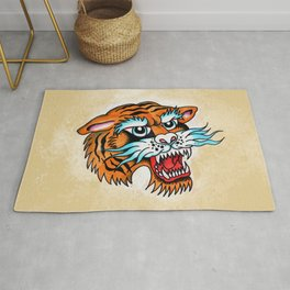 Fierce Tiger - Traditional Tattoo Design Rug