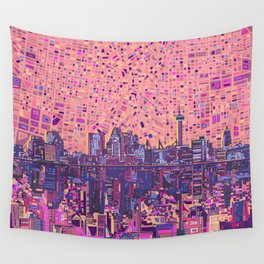 san antonio city skyline abstract 5 Wall Tapestry
