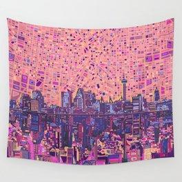 san antonio city skyline abstract 5 Wall Tapestry