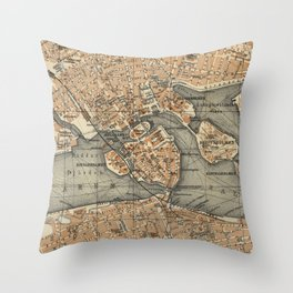 Vintage Map of Stockholm Sweden (1909) Throw Pillow