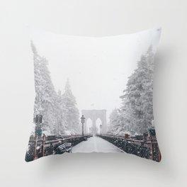 New York City and Brooklyn Bridge Winter/Christmas Throw Pillow