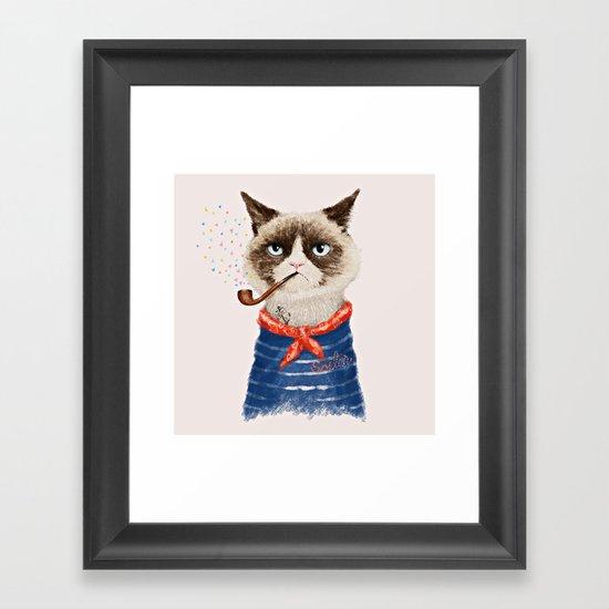 Sailor Cat V Framed Art Print