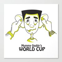 world cup Canvas Prints featuring Mummy Daddy's World cup by Jyoti Khetan