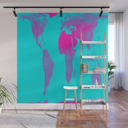 World Map : Gall Peters Turquoise & Pink Wall Mural
