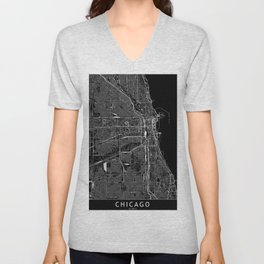 Chicago Black Map Unisex V-Neck