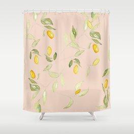 Watercolor Kumquat Peach Background Shower Curtain