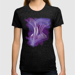 French Corset on Purple T-shirt