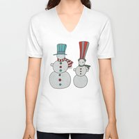 calendar V-neck T-shirts featuring Snowmen by Päivi Hintsanen