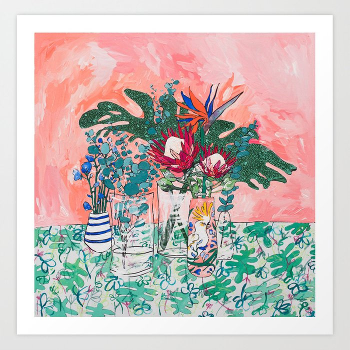 Cockatoo Vase - Bouquet of Flowers on Coral and Jungle Art Print