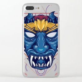 Blue faced demon sacred geometry Clear iPhone Case