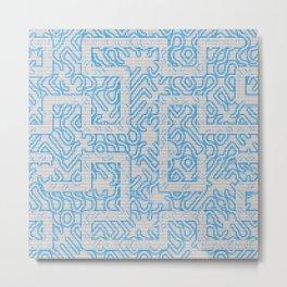 Blue Needlepoint Maze Metal Print