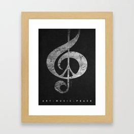 Music & Peace Black Leather Framed Art Print