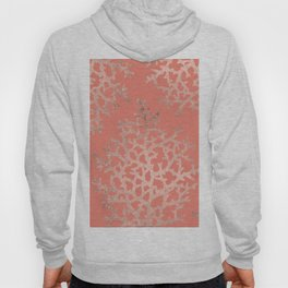 Faux rose gold coral sea hand drawn pattern salmon pattern Hoody