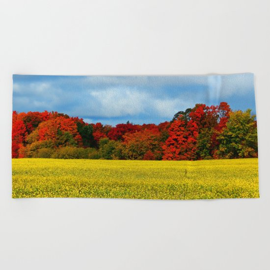 Blue Red Yellow Green and White Beach Towel