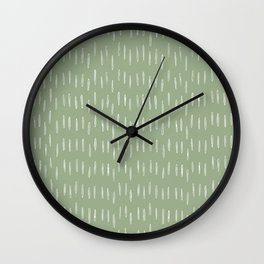 Raindrop Boho Abstract Pattern, Sage Green Wall Clock