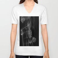 smoke V-neck T-shirts featuring Smoke by Dora Birgis
