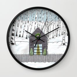 Christmas Cabin In The Snowy Woods Wall Clock