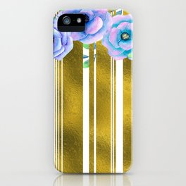 Glam Gold Stripes Blue Watercolor Floral Pattern iPhone Case