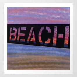 Beach Sunset Sign Art Print