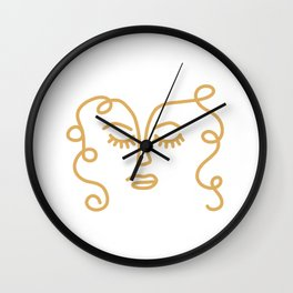 Curly Hair Don't Care - Minimalist Line Drawing Portrait of a Woman in Mustard Yellow on White Wall Clock