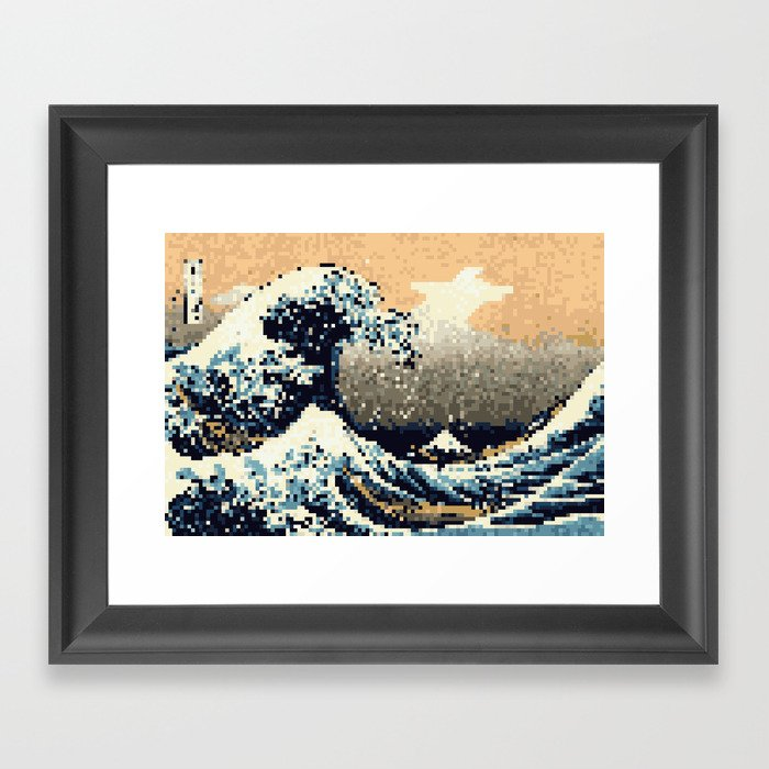 8 bit the great wave off kanagawa framed art print by nweddell