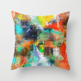 splash brush painting texture abstract background in brown orange blue yellow Throw Pillow