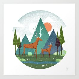 Deer and son Art Print