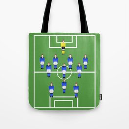 Football Soccer sports team in blue Tote Bag