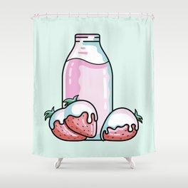 Cute Strawberry Milkshake Shower Curtain