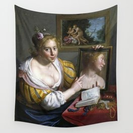 Paulus Moreelse - A girl with a mirror, an allegory of Profane Love Wall Tapestry