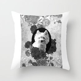 Westie & Roses Vintage Silver Frame Throw Pillow