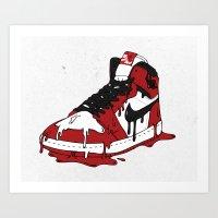 air jordan Art Prints featuring Air Jordan I by shoooes