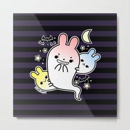 naughty halloween bunny ghost Metal Print