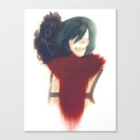 mikasa Canvas Prints featuring I Am Stronger Than All Of You by Jeidu