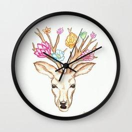 Deer with flowers Wall Clock