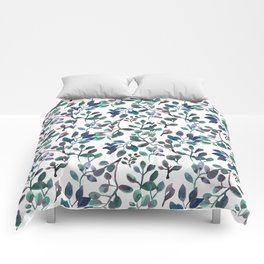 Jade and Succulent Watercolor Plant Pattern Comforters