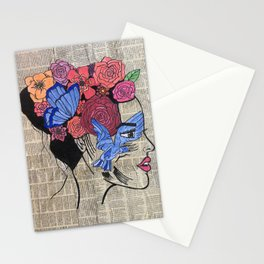 Whimsical News Girl Stationery Cards
