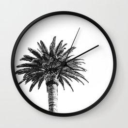Lush Palm {2 of 2} / Black and White Sky Tree Leaves Art Print Wall Clock