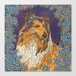 Rough Collie and Blue Flowers Canvas Print