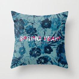 Spring Yeah! - Blue Flowers Throw Pillow
