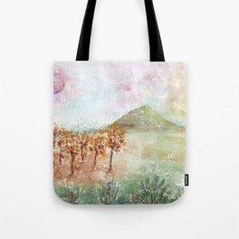 Watercolor Pink Moon Landscape Tote Bag